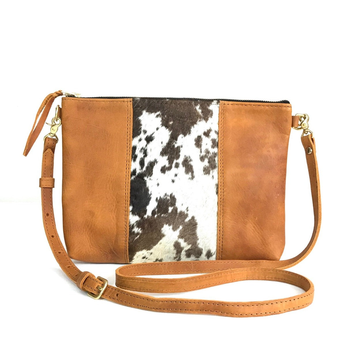 "Antigua Leather Cross Body Clutch (1"" base) - cowhide hair brown"