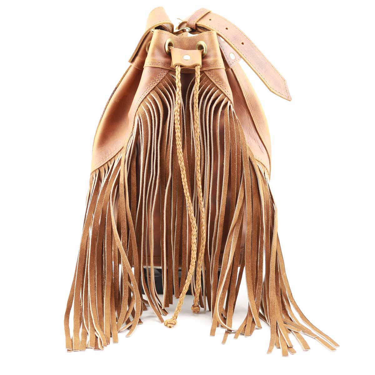 Cowhide Tan Leather Fringe Bucket Bag