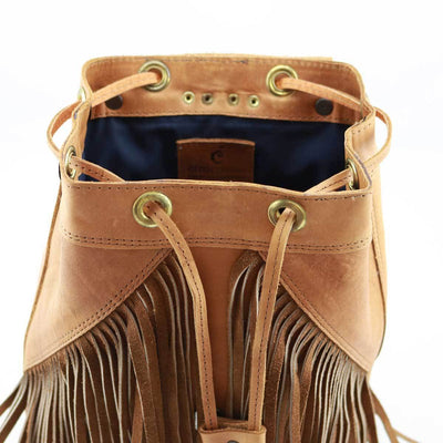 Tan Leather Fringe Backpack