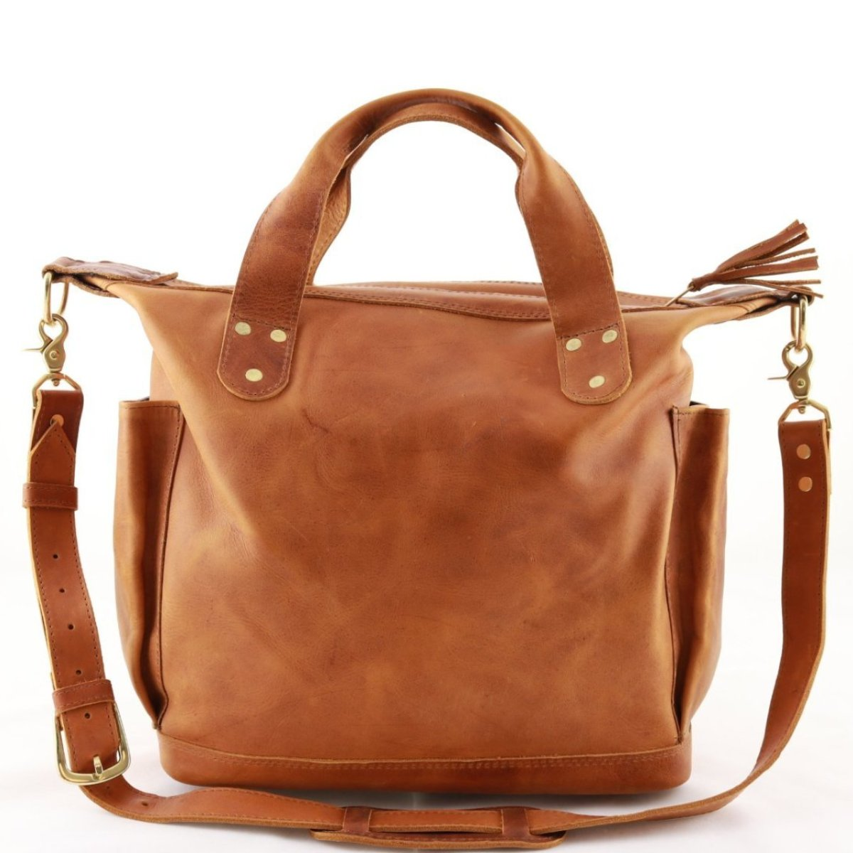 Canela Leather Day Bag with side pockets