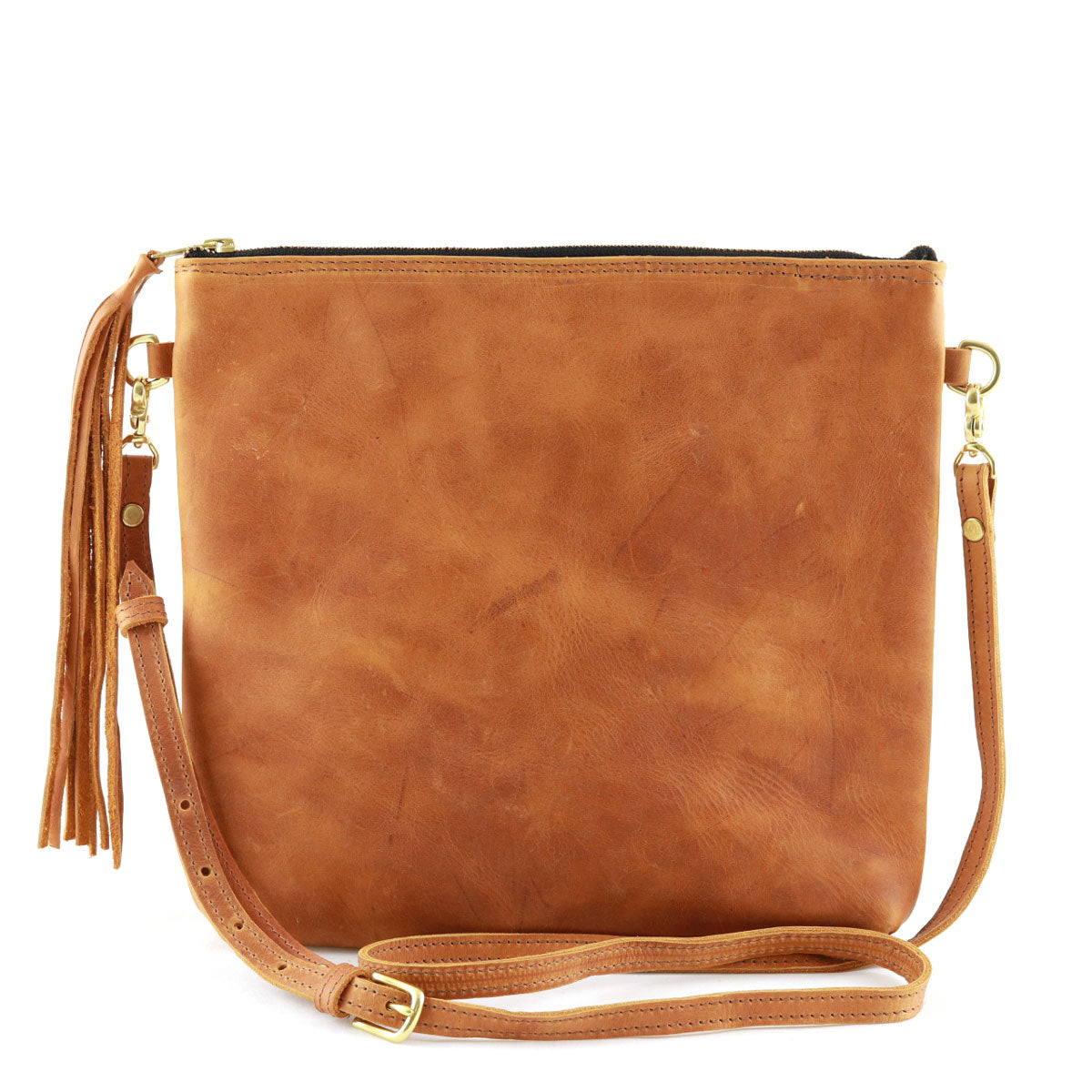 "Antigua Tan Leather Tassel Cross Body Clutch (1"" base)"