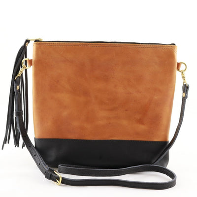 "Antigua Two Tone Leather Tassel Cross Body Clutch (1"" base)"