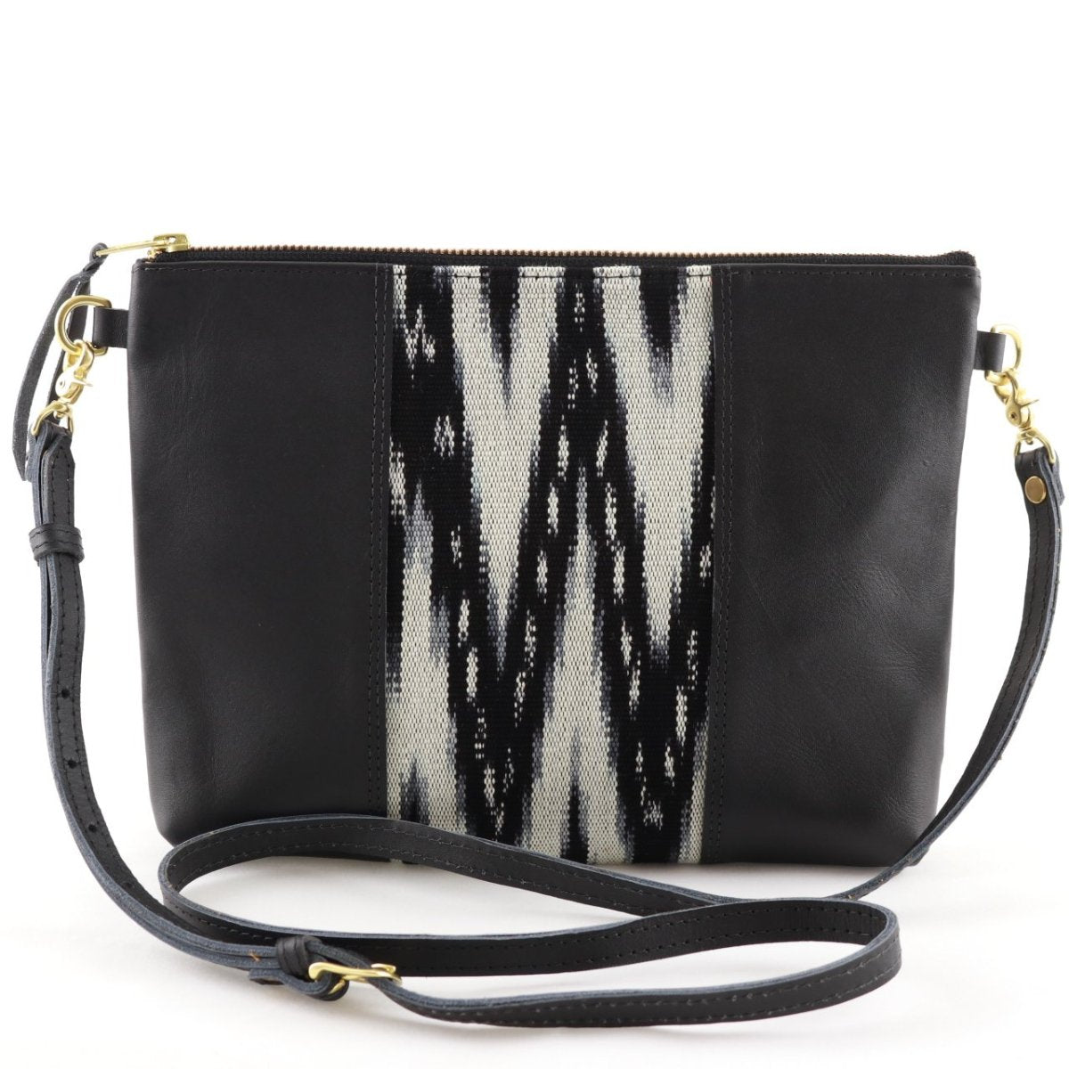 "Carbon Ikat Clutch Cross Body with Black Leather (1"" base)"