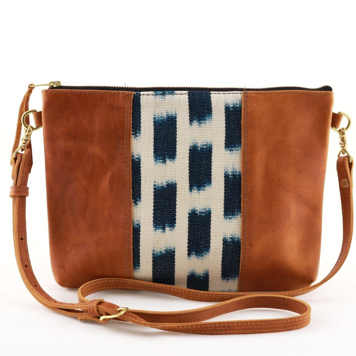 "Piedra Azul Ikat Clutch Cross Body with Tan Leather (1"" base)"