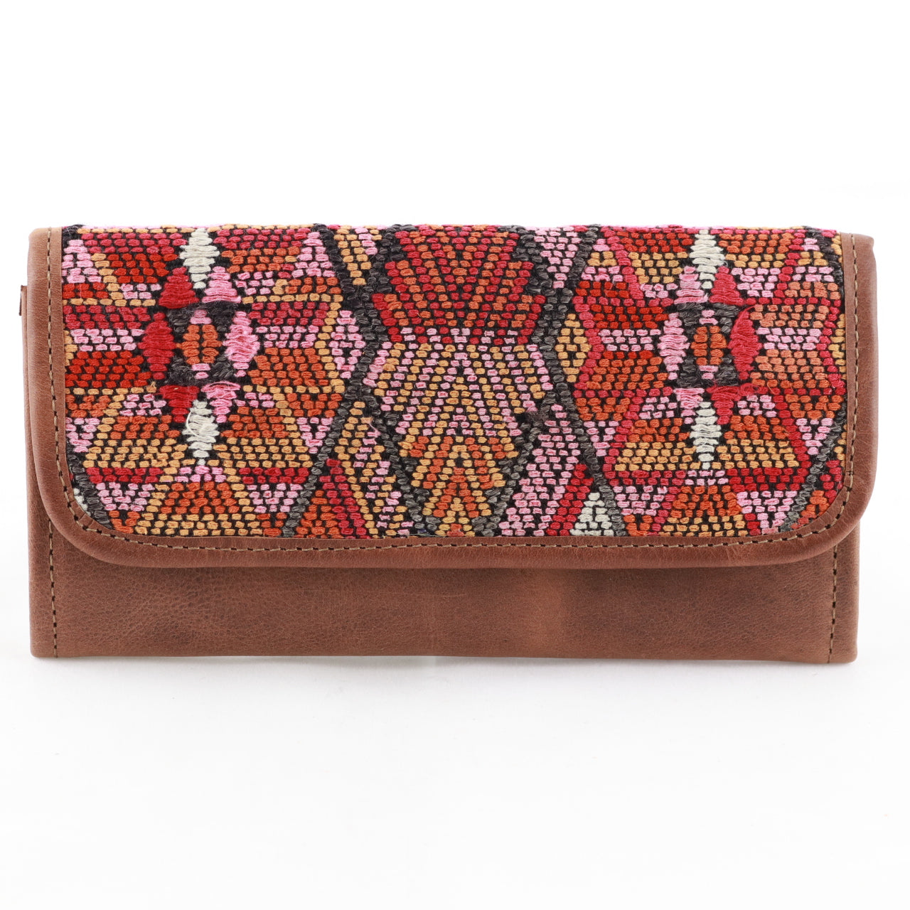 Huipil wallet in tan leather (tri-fold)