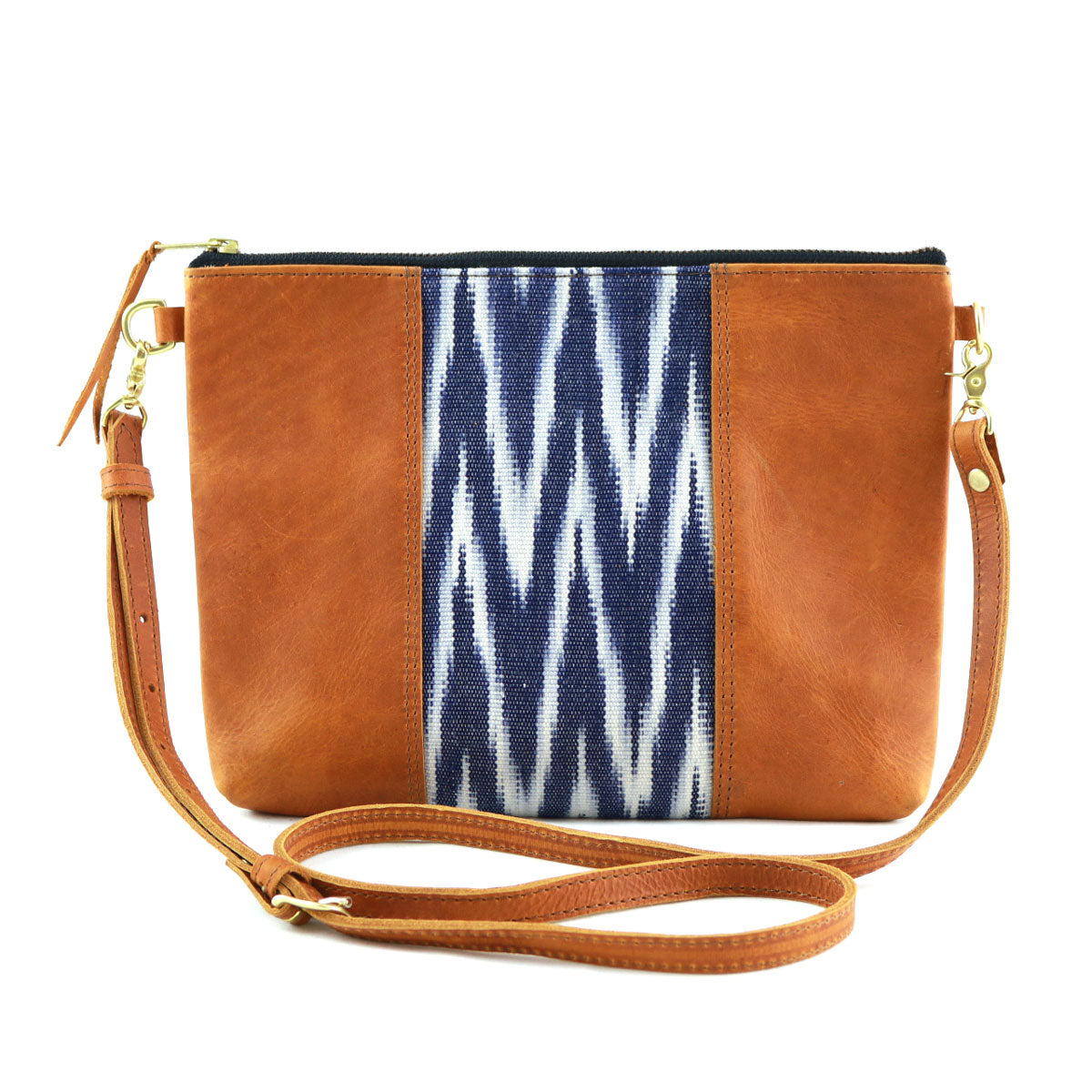 "Oceano Ikat Clutch Cross Body with Tan Leather (1"" base)"