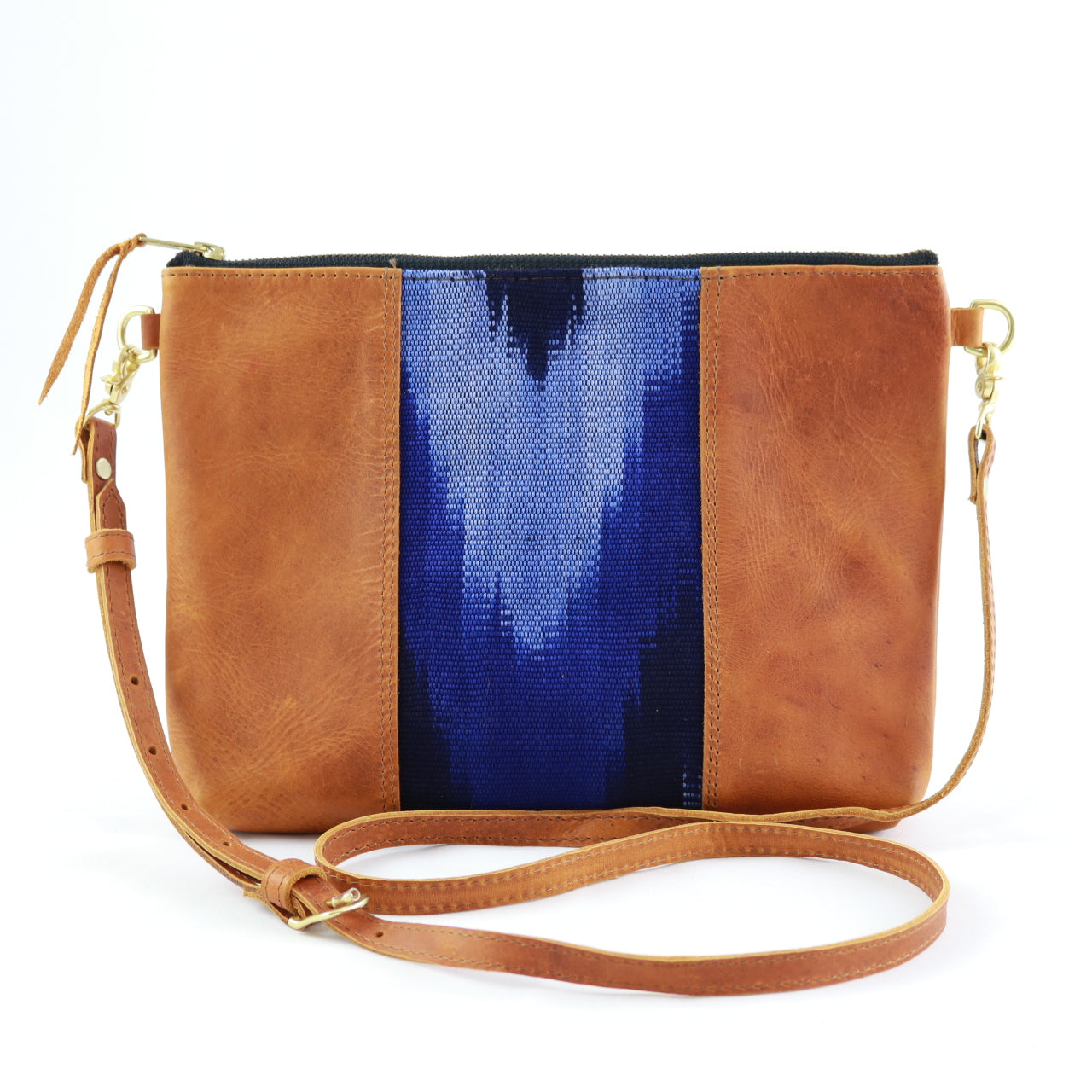 "Azul Ikat Clutch Cross Body with Tan Tan Leather (1"" base)"