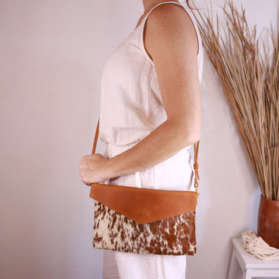 Cowhide Brown Hair Envelope Clutch with detachable cross body strap
