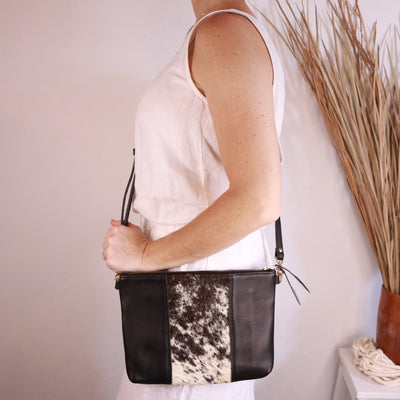"Antigua Leather Cross Body Clutch (1"" base) - cowhide hair black"