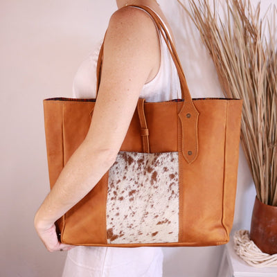 Antigua Medium Leather Tote with cowhide pocket