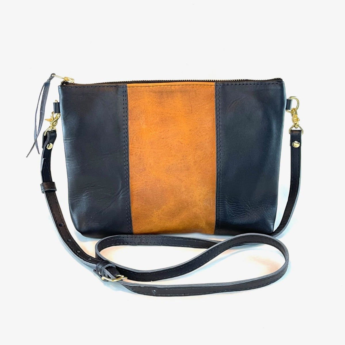 "Antigua Two Tone Leather Cross Body Clutch (1"" base)"