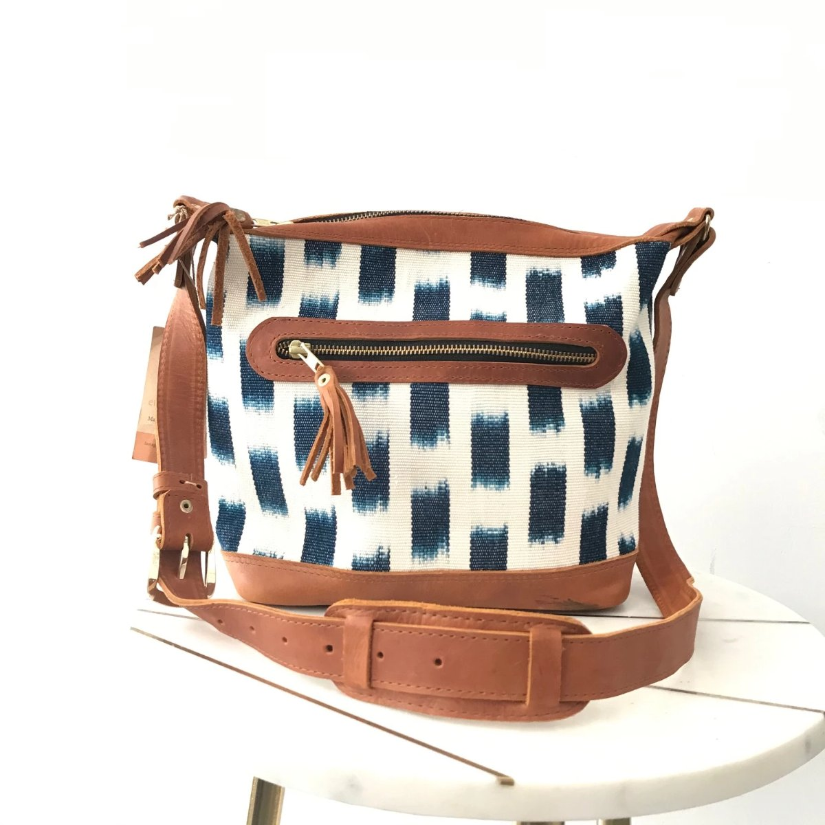 Piedra Azul Ikat Textile Leather Mini Bag