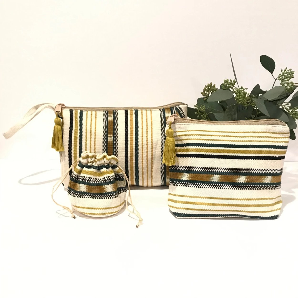 Cosmetic Textile Pouches - Set of 3
