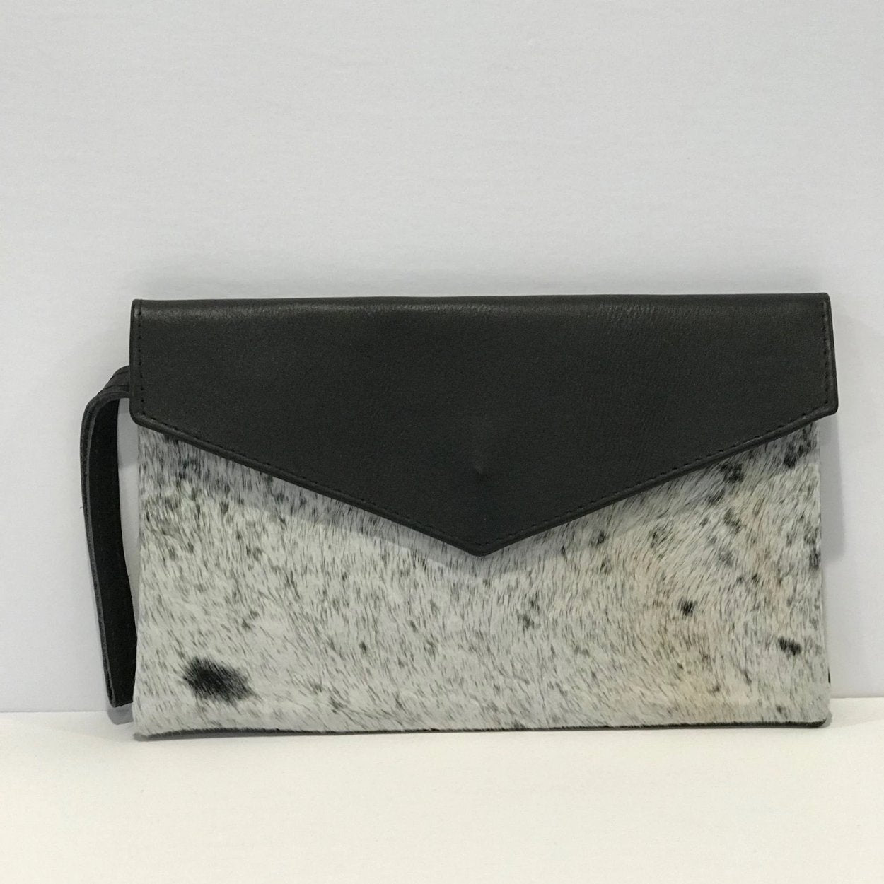 Cowhide Black Hair Envelope Clutch with Wristlet