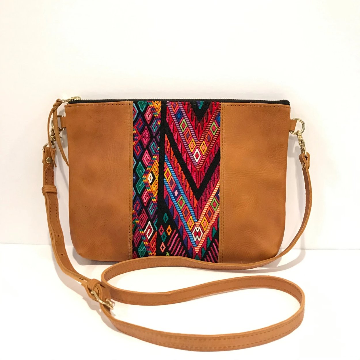 "Textile Clutch Cross Body with Tan Leather (1"" base)"