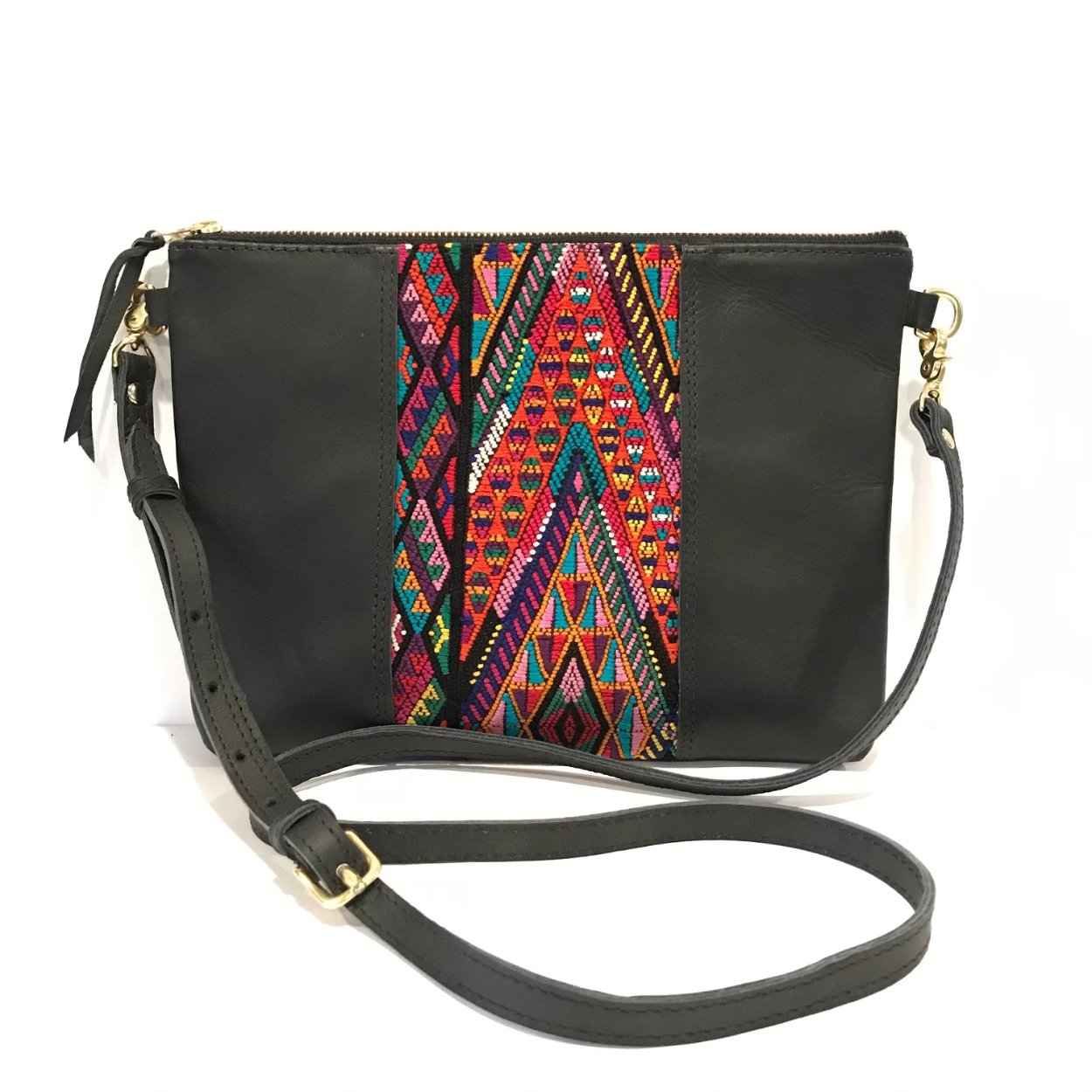 "Textile Clutch Cross Body with Black Leather (1"" base)"