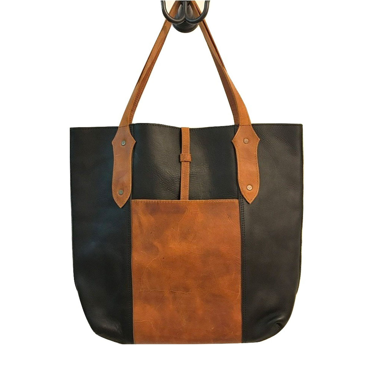 Antigua Mini Leather Tote  (two-tone)