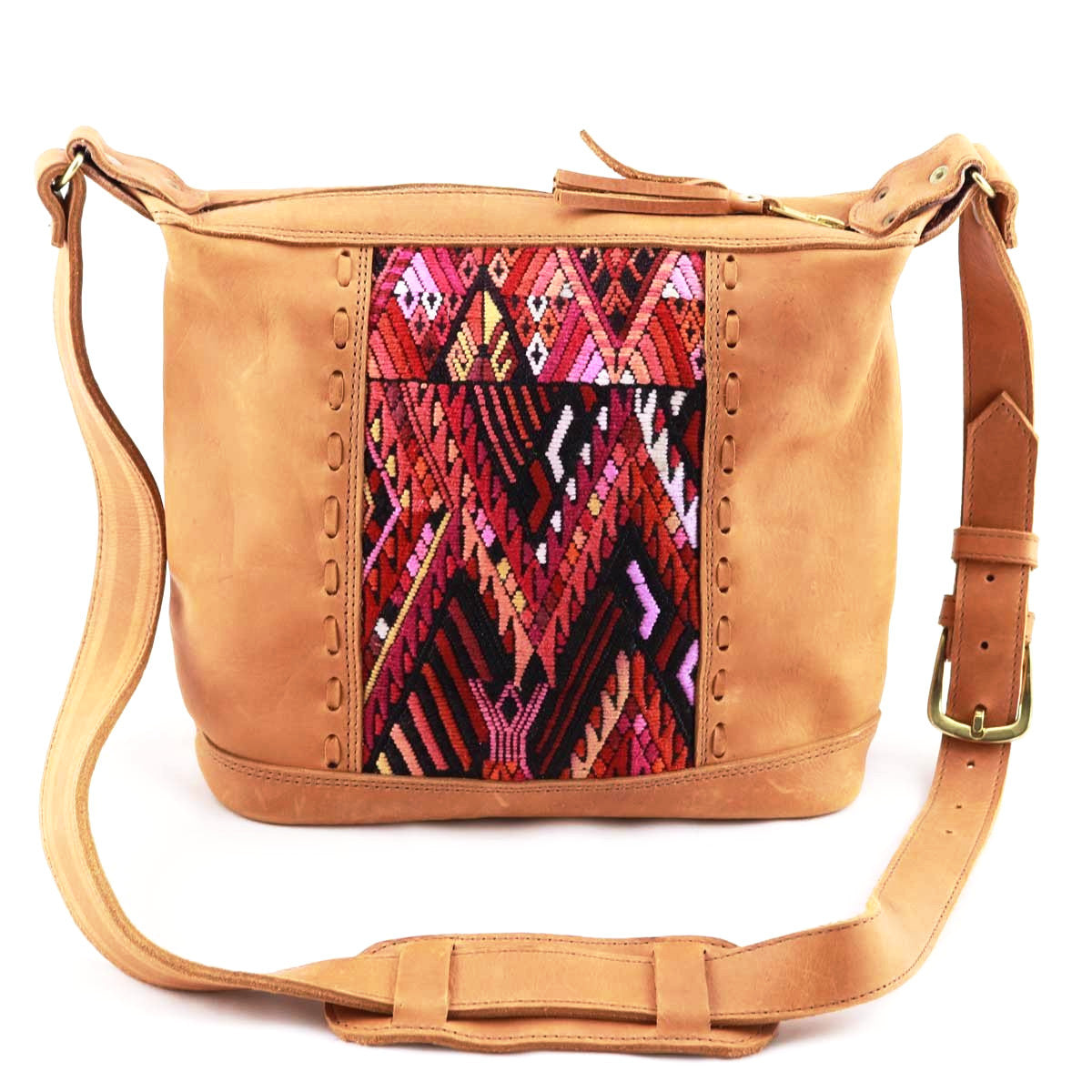 Michella Textile Tan Leather Mini Bag - etnico culture