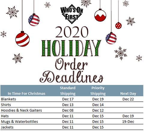 who's on first holiday order deadlines for christmas 2020