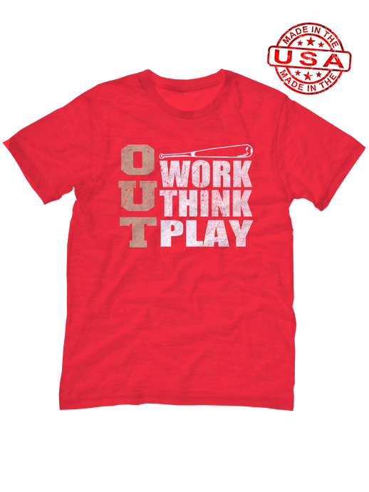 who's on first, three outs unisex t-shirt made in the usa red
