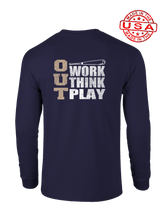 who's on first three outs long sleeve shirt navy