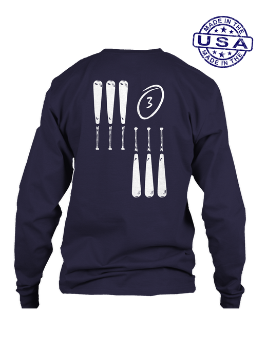 who's on first 3 up 3 down long sleeve shirt navy
