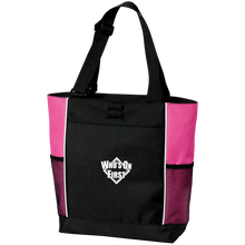 who's on first embroidered color blocked zippered tote black pink