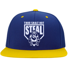 Thou Shalt Not Steal flat bill snapback hat from Who's On First royal and gold