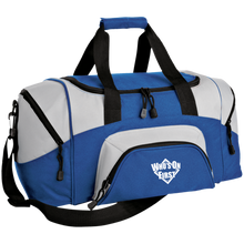 who's on first embroidered daily sports bag duffel royal grey