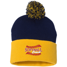 Softball Coach, Pom Pom Knit Cap