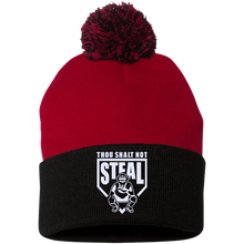 Thou Shalt Not Steal pom pom knit cap from Who's On First red and black