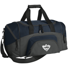 who's on first embroidered daily sports bag duffel charcoal navy
