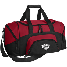 who's on first embroidered daily sports bag duffel black red