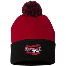 Softball Mom, Pom Pom Knit Cap