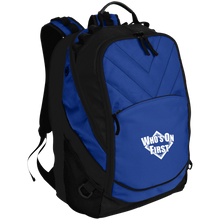 who's on first embroidered laptop computer backpack shock blue