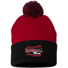 Baseball Mom, Pom Pom Knit Cap