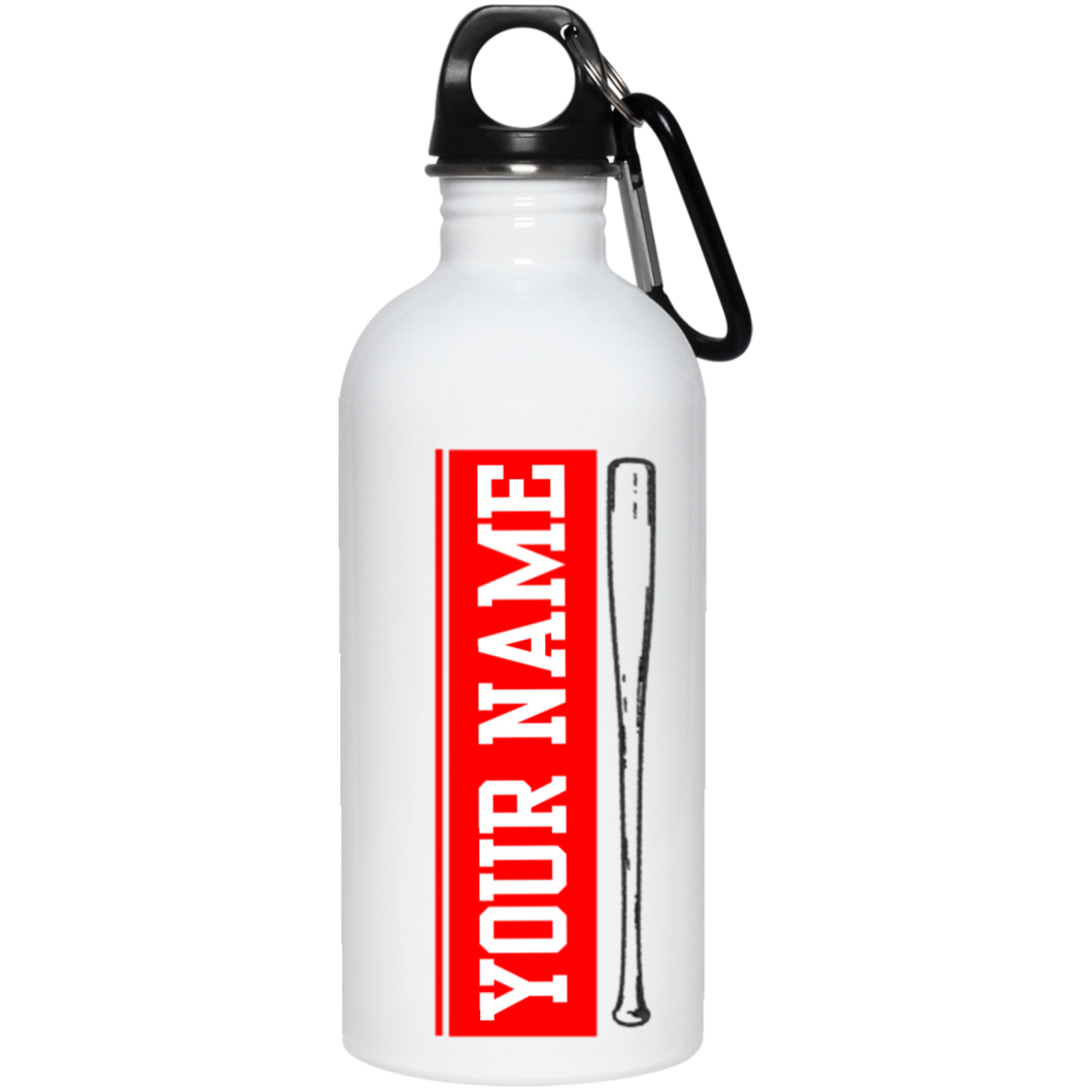 who's on first batter up stainless steel water bottle 20 oz personalized with your name red
