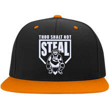 Thou Shalt Not Steal flat bill snapback hat from Who's On First black and orange