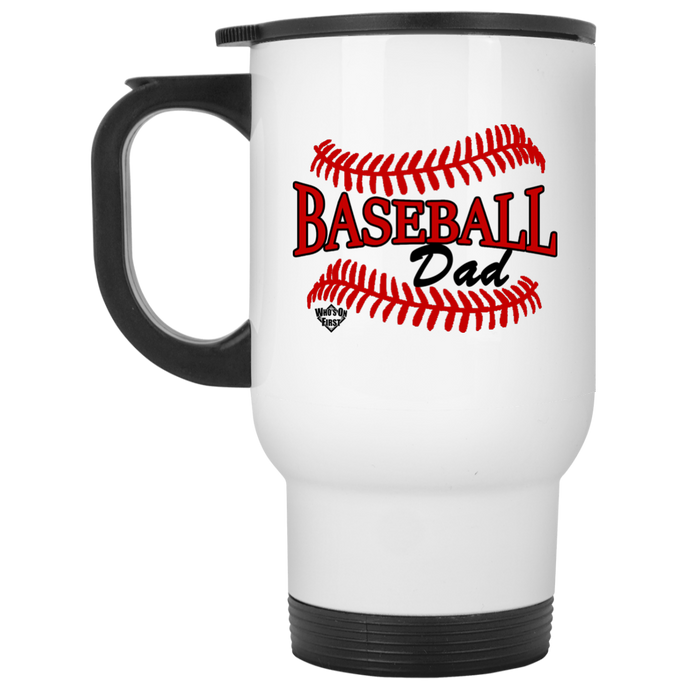 who's on first baseball dad travel mug white