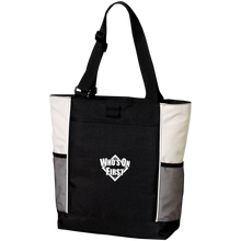 who's on first embroidered color blocked zippered tote black stone