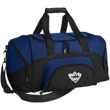 who's on first embroidered daily sports bag duffel black royal