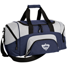 who's on first embroidered daily sports bag duffel navy grey
