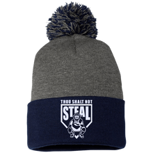 Thou Shalt Not Steal pom pom knit cap from Who's On First heather and navy
