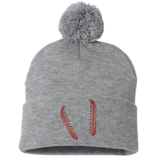 who's on first pom pom knit cap keep it simple baseball / softball seams embroidered on front