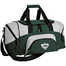 who's on first embroidered daily sports bag duffel hunter green grey