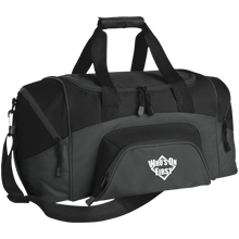 who's on first embroidered daily sports bag duffel charcoal black
