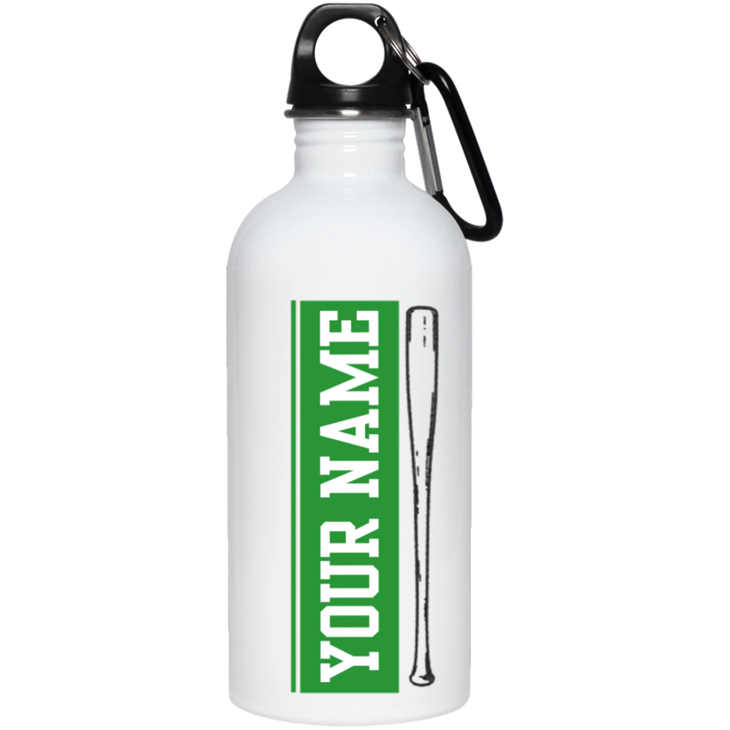 who's on first batter up stainless steel water bottle 20 oz personalized with your name green