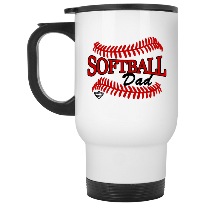 Softball Dad, White Travel Mug