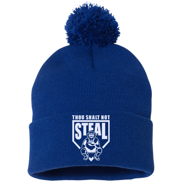 Thou Shalt Not Steal pom pom knit cap from Who's On First royal