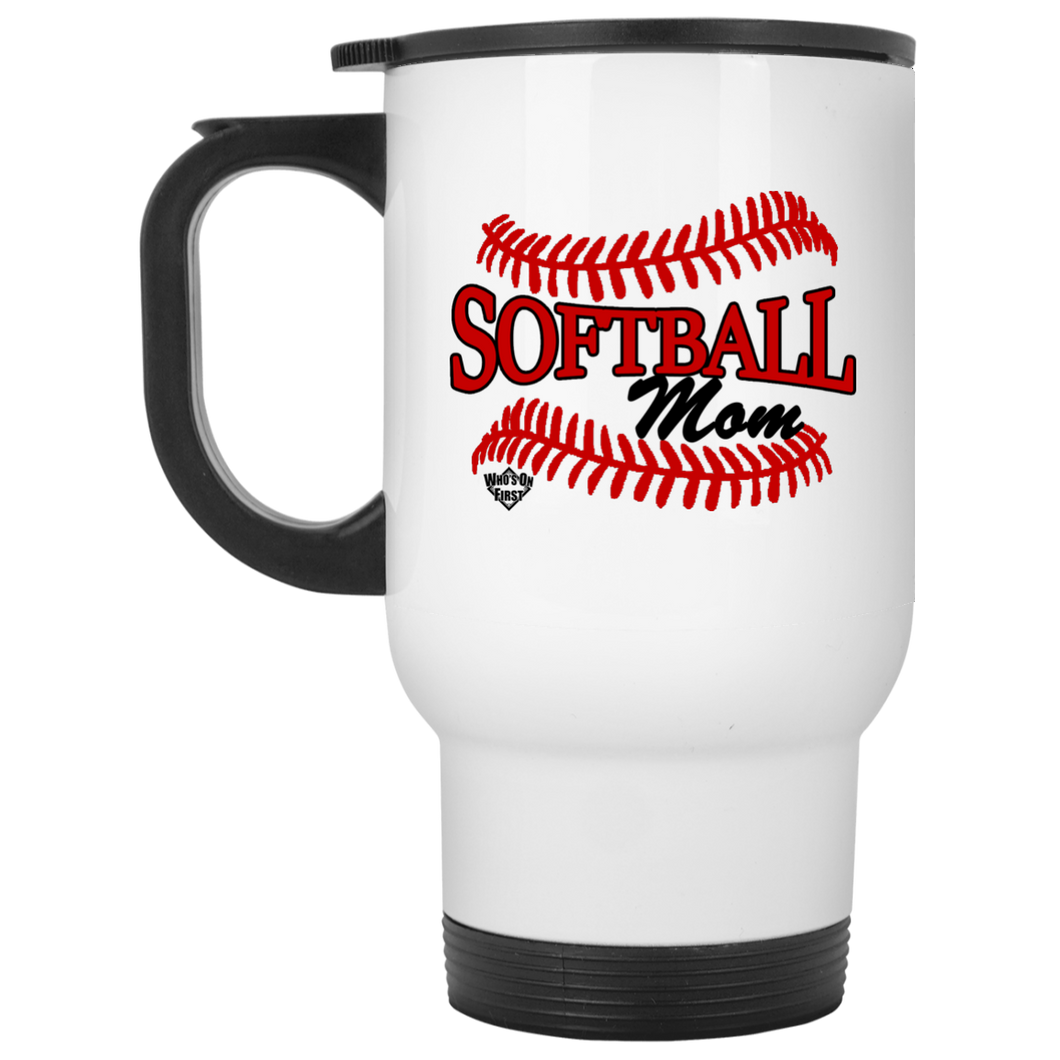 Softball Mom, White Travel Mug